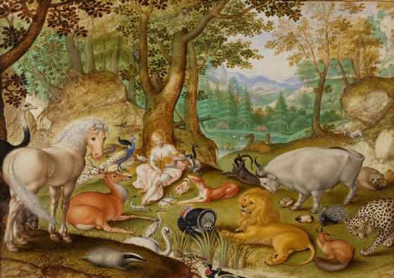 Hoefnagel, Jacob: Orpheus Charming the Animals. Fine Art Print/Poster. Sizes: A4/A3/A2/A1 (004072)